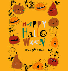 Frame with cartoon pumpkins on yellow background vector