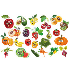 Fruit and berries and vegetables characters vector