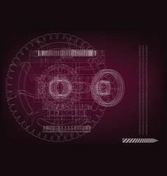 gear mechanism on burgundy vector image