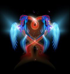 Glowing fantasy girls angels hugging red heart vector