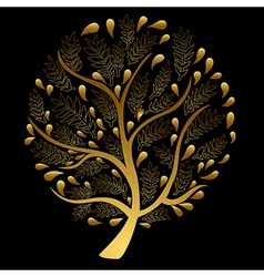 Gold tree isolated on black background vector