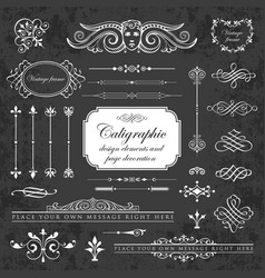 graphic elements for design on chalkboard vector image