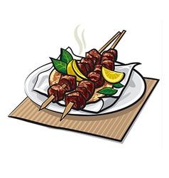 Greek meat kebabs vector