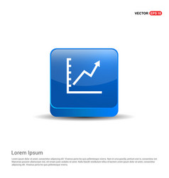 growing graph icon - 3d blue button vector image