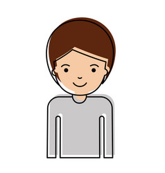Half body man with short hair in watercolor vector
