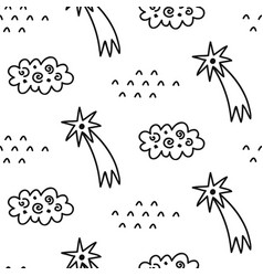 hand drawn outer space seamless pattern vector image