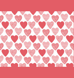 hand drawn valentine hearts seamless pattern vector image