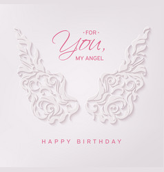 happy birthday card with angel wings vector image