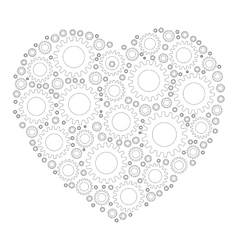 Heart shape mosaic of cog wheels vector image