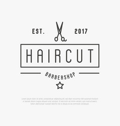 Hipster logo for barber shop with scissors vector