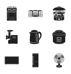 Household appliances set icons in black style Big vector