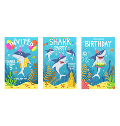 Invitations card with cute sharks color greeting vector