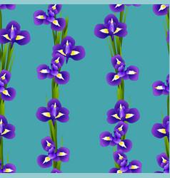 Iris flower seamless on indigo blue background vector