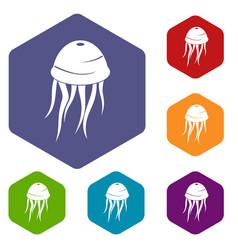 Jellyfish icons set hexagon vector