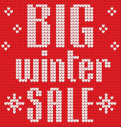 Knitted text big winter sale in red and white vector