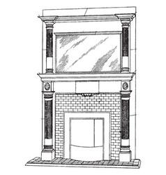 Large surface mantel fireplace mantel vintage vector