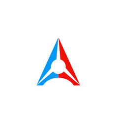 letter a triangle colored logo vector image