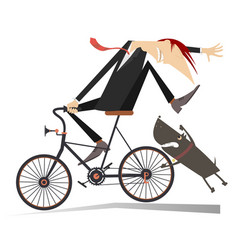 man on the bicycle and aggressive dog vector image