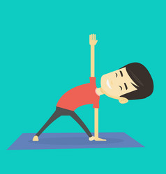 man practicing yoga triangle pose vector image