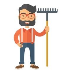 Man with a mustache holding rake vector image