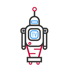 Minimalistic robot with tv screen and antenna on vector