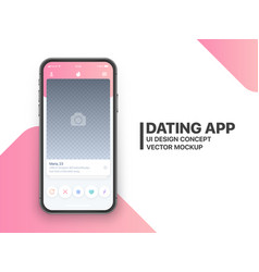 Mobile dating app mockup vector