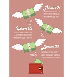 Money bill flying out of wallet infographic vector