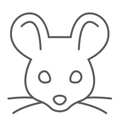 Mouse thin line icon animal and zoo rat sign vector