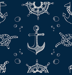 nautical theme blue seamless pattern vector image