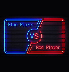 neon versus frame battle competition blue and red vector image