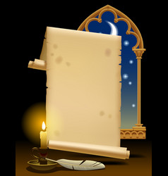old parchment with candle light feather and vector image