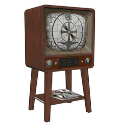 old retro tv on white background vector image