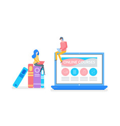 Online courses man and woman preparing for exam vector