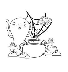 Outline ghost with spider character and pot vector