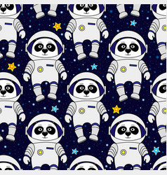 Panda astronaut in space seamless pattern vector