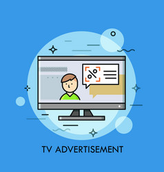 Person and speech balloon with announcement on tv vector