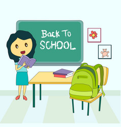 Poster back to school with teacher vector