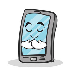 Praying face smartphone cartoon character vector