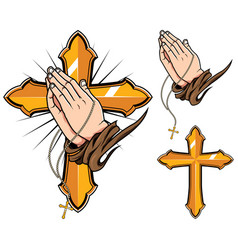 Praying hands symbols vector