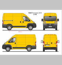 Ram promaster cargo delivery van l1h2 2018 vector