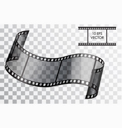Realistic 3d film curved film isolated object on vector