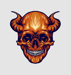 red devil skull horn vector image