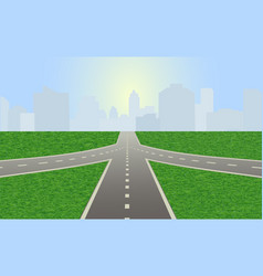 Road leading to city standing at horizon vector