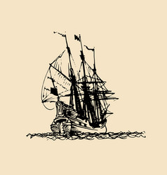 sailing ship in engraved style hand vector image