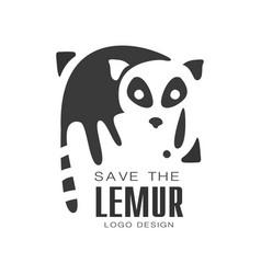 Save the lemur logo design protection of wild vector