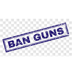 Scratched ban guns rectangle stamp vector