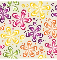 Seamless abstract 70s flowers dots pattern vector