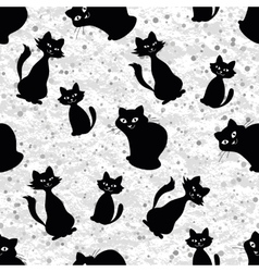 Seamless background with cats silhouettes vector image