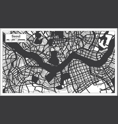 Seoul south korea city map in black and white vector