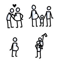 set familyn stick figures vector image